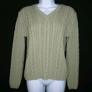 J Crew cable knit sweater Sage green V-neck Small